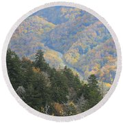Looking Down On Autumn From The Top Of Smoky Mountains Round Beach Towel