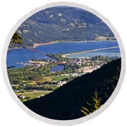 Looking Down On Sandpoint Round Beach Towel