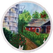 Looking Down On The Farm Round Beach Towel
