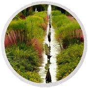 Looking Down Reflection Canal Round Beach Towel