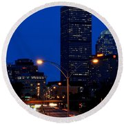 Looking Down The Mass Pike From The Brookline Ave Bridge Round Beach Towel
