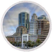 Looking Downtown Round Beach Towel