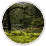 Looking For Food Merged Image Round Beach Towel