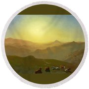 Looking From The Shade On Clay Hill .sunset Clay Street Hill San Francisco Round Beach Towel
