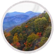 Looking Glass Rock And Fall Colors Round Beach Towel