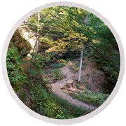 Looking Into Devil's Punch Bowl Wildcat Den Round Beach Towel