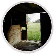 Looking Out Old Barn Round Beach Towel