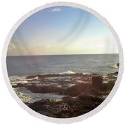 Looking Out Over The Ocean Round Beach Towel