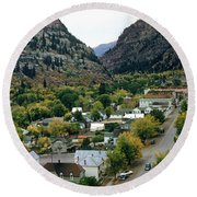 Looking Over Ouray From The Sutton Mine Trail Circa 1955 Round Beach Towel