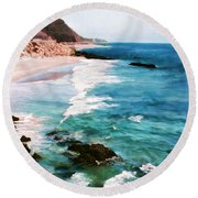 Looking South On The Northern California Coast Round Beach Towel