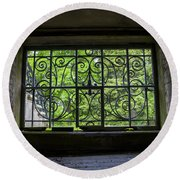 Looking Through Old Basement Window On To Vibrant Green Foliage Fine Art Photography Print  Round Beach Towel