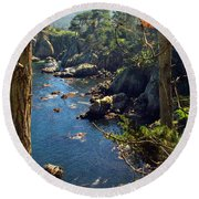 Looking Through The Trees At Point Lobos Round Beach Towel