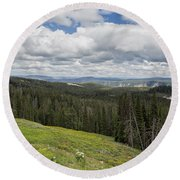 Looking To The Canyon - Yellowstone Round Beach Towel