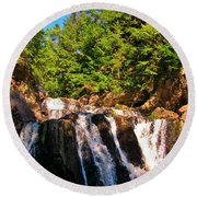 Looking Up At Victoria Falls Round Beach Towel