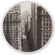 Looking Up Broadway In Nyc Round Beach Towel