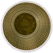 Looking Up Capitol Dome Round Beach Towel