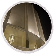 Looking Up Founders Hall At Night Round Beach Towel