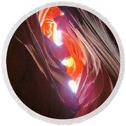 Looking Up In Antelope Canyon Round Beach Towel