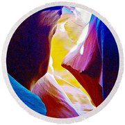 Looking Up In Lower Antelope Canyon In Lake Powell Navajo Tribal Park-arizona  Round Beach Towel