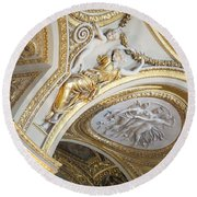 Looking Up In The Louvre Round Beach Towel