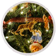 Looking Up The Christmas Tree Round Beach Towel