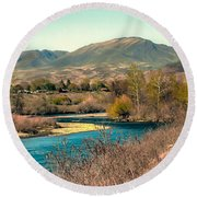 Looking Up The Payette River Round Beach Towel