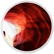 Looking Up Through Antelope Canyon Round Beach Towel