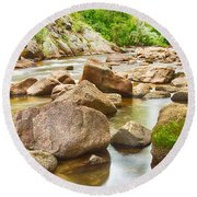 Looking Upstream The Colorado St Vrain River Round Beach Towel