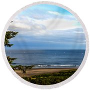 Looking West At The Fishing Boats Round Beach Towel