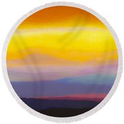 Looking West Panorama Round Beach Towel