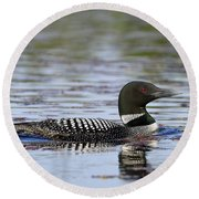 Loon And Reflection Round Beach Towel
