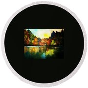 Autumn In Loon Country Ll Round Beach Towel