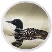 Loon In Still Waters Round Beach Towel