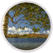 Loon Lake In Autumn With White Birch Tree Round Beach Towel