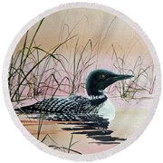 Loon Sunset Round Beach Towel by James Williamson