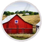 Loose Creek Quilt Barn Round Beach Towel by Cricket Hackmann