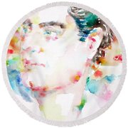 Lord Byron - Watercolor Portrait Round Beach Towel