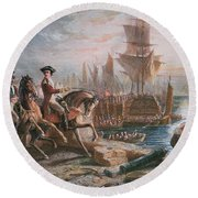 Lord Howe Organizes The British Evacuation Of Boston In March 1776 Round Beach Towel by English School