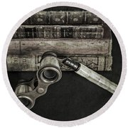 Lorgnette With Books Round Beach Towel