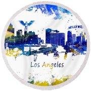 Los Angeles California Skyline Yellow Blue Round Beach Towel
