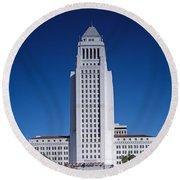 Los Angeles City Hall Round Beach Towel