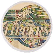 Los Angeles Clippers Poster Art Round Beach Towel