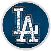 Los Angeles Dodgers Baseball Vintage Logo License Plate Art Round Beach Towel by Design Turnpike