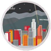 Los Angeles California Horizontal Skyline - Hollywood Hills - Night Round Beach Towel