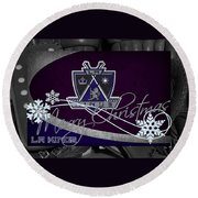 Los Angeles Kings Christmas Round Beach Towel
