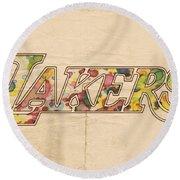 Los Angeles Lakers Logo Art Round Beach Towel