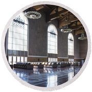 Los Angeles Union Station Original Ticket Lobby Vertical Round Beach Towel