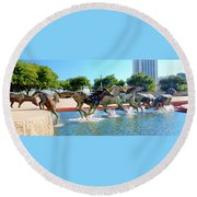Los Colinas Mustangs 14698 Round Beach Towel