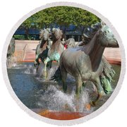 Los Colinas Mustangs 14710 Round Beach Towel