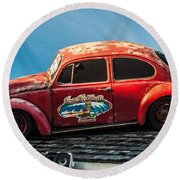 Lost Beetle Round Beach Towel